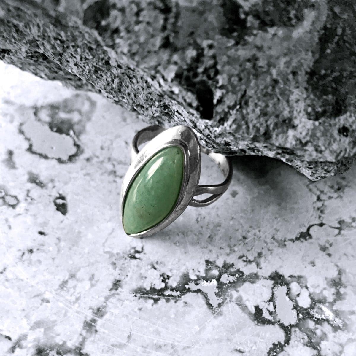 anillo plata aventurina menta marquis 2 1