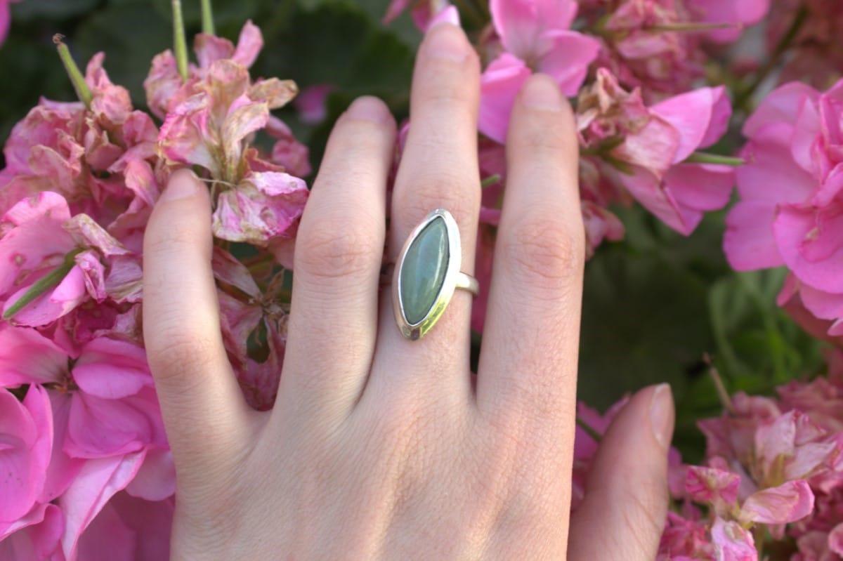 anillo plata aventurina menta marquis 3