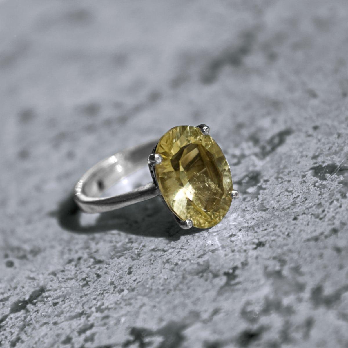 anillo plata citrino oval solitario 2