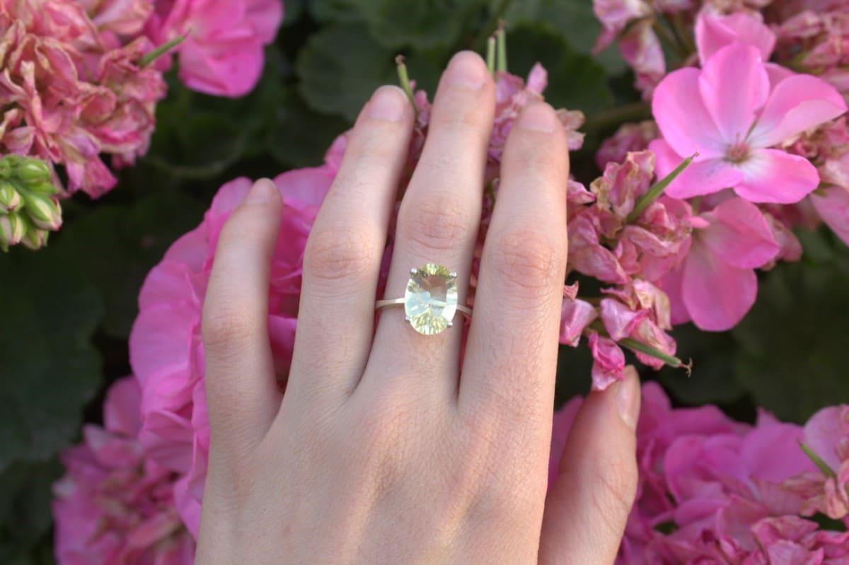 anillo plata citrino oval solitario 3