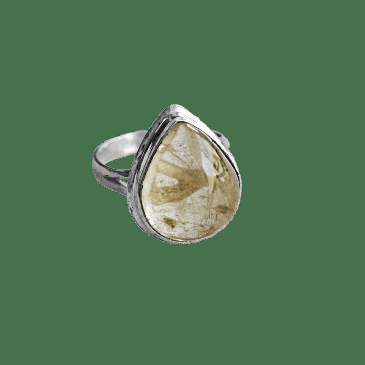 anillo plata cuarzo rutilado gota 1