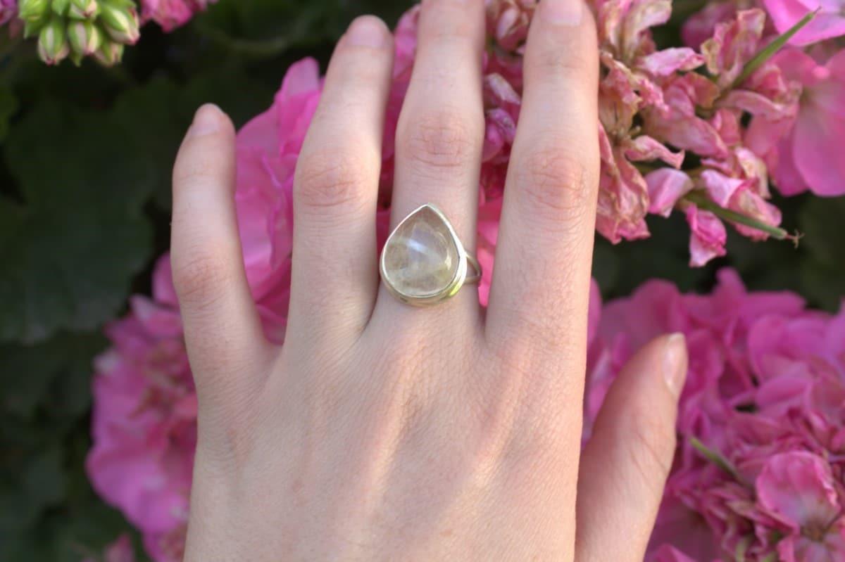 anillo plata cuarzo rutilado gota 2 1