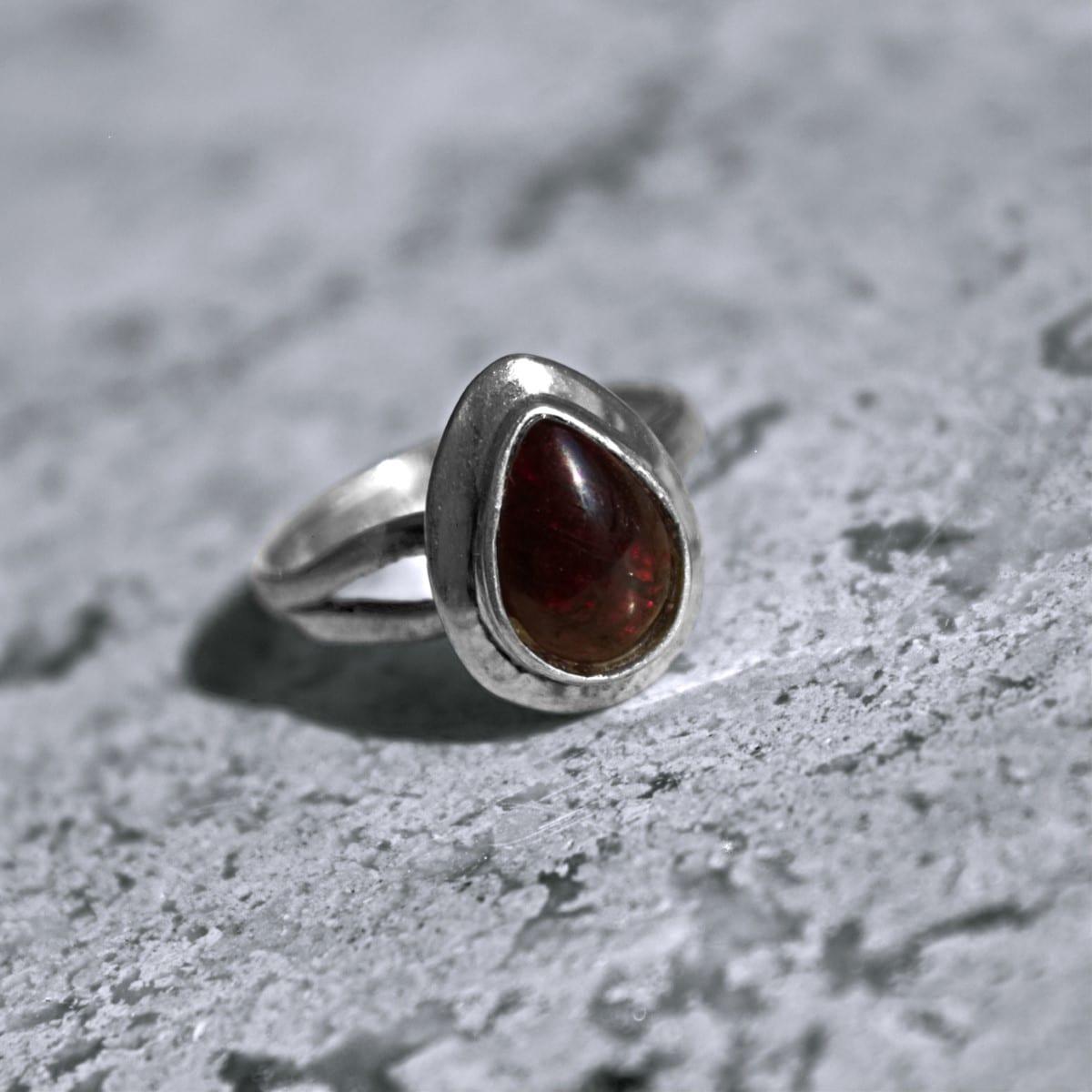 anillo plata granate 2