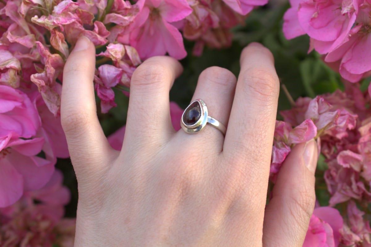 anillo plata granate 3