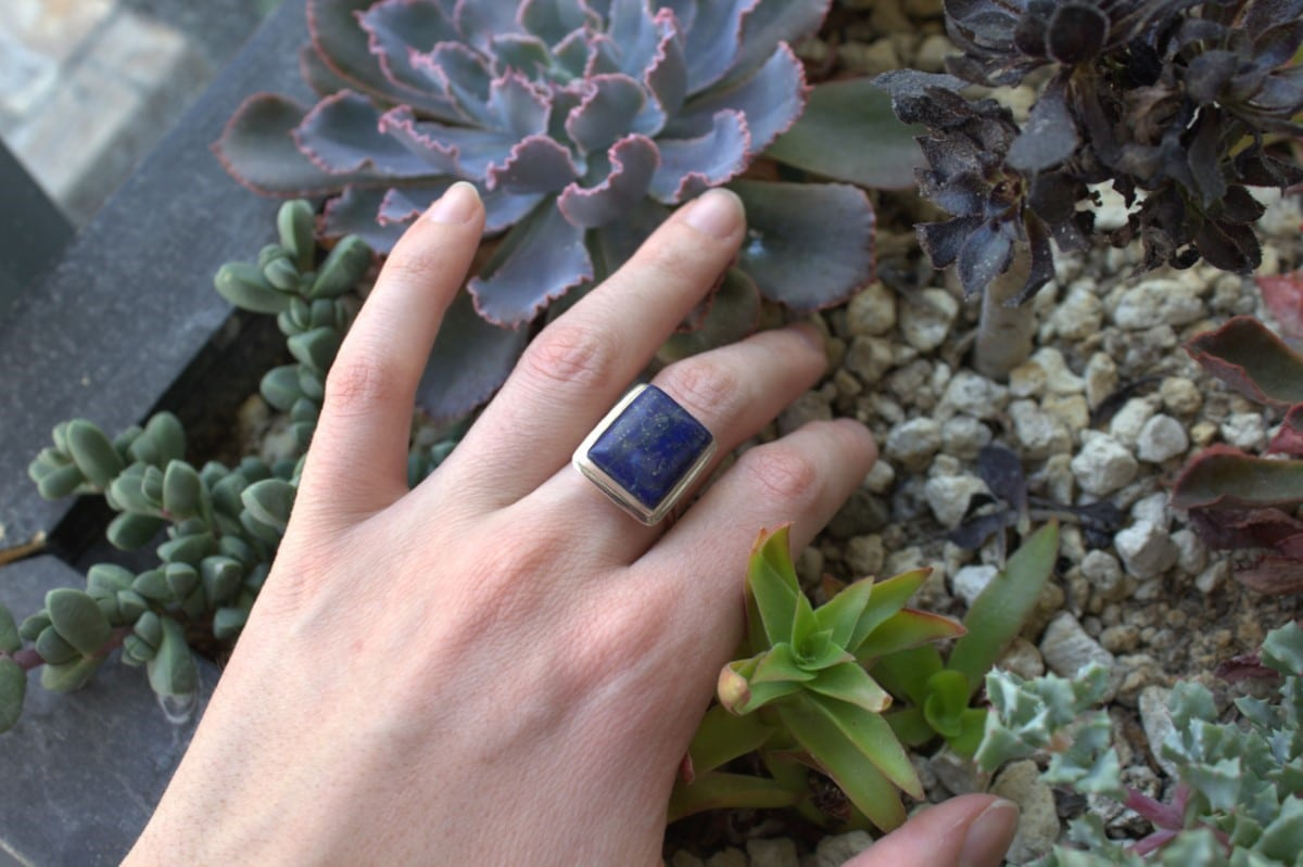 anillo plata lapislazuli rectangulo 3