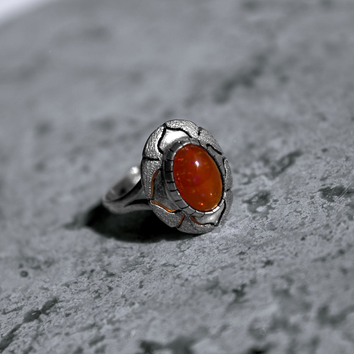 anillo plata opalo naranja intenso 2
