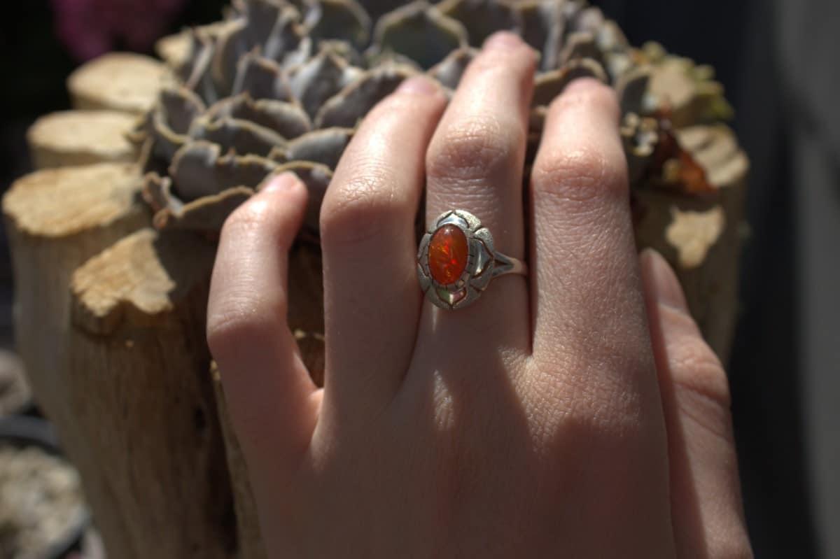 anillo plata opalo naranja intenso 3