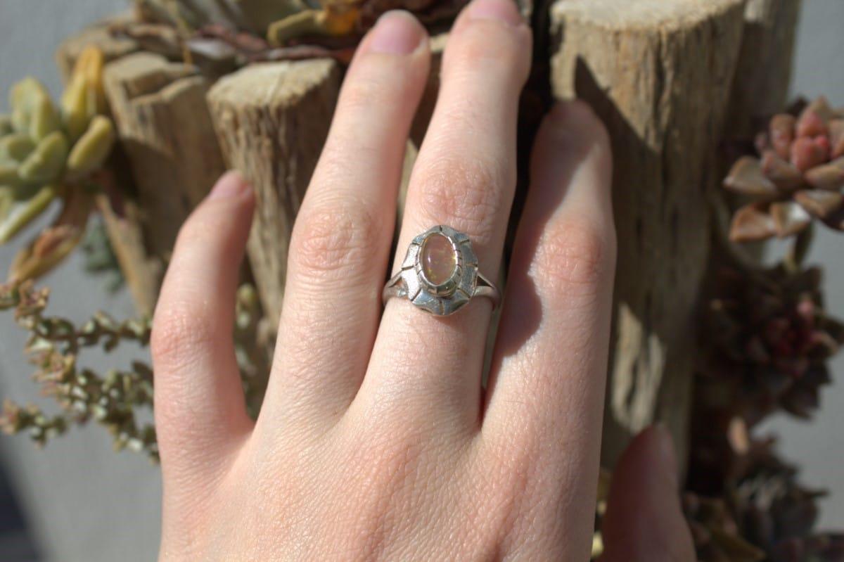 anillo plata opalo translucido 3