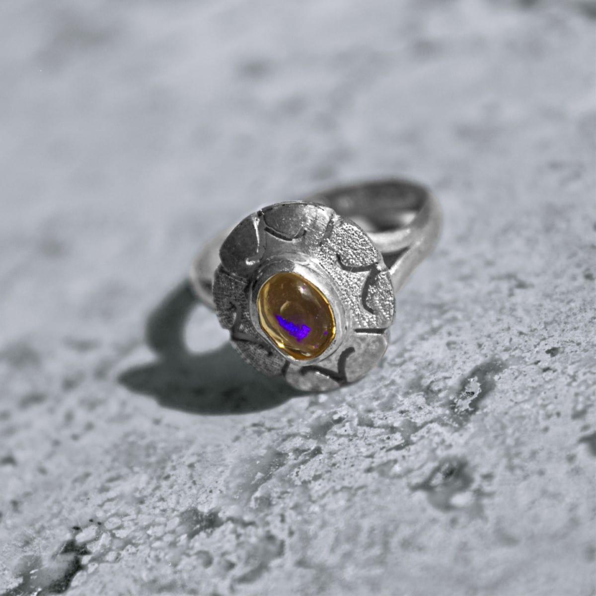 anillo plata opalo transparente flor 2