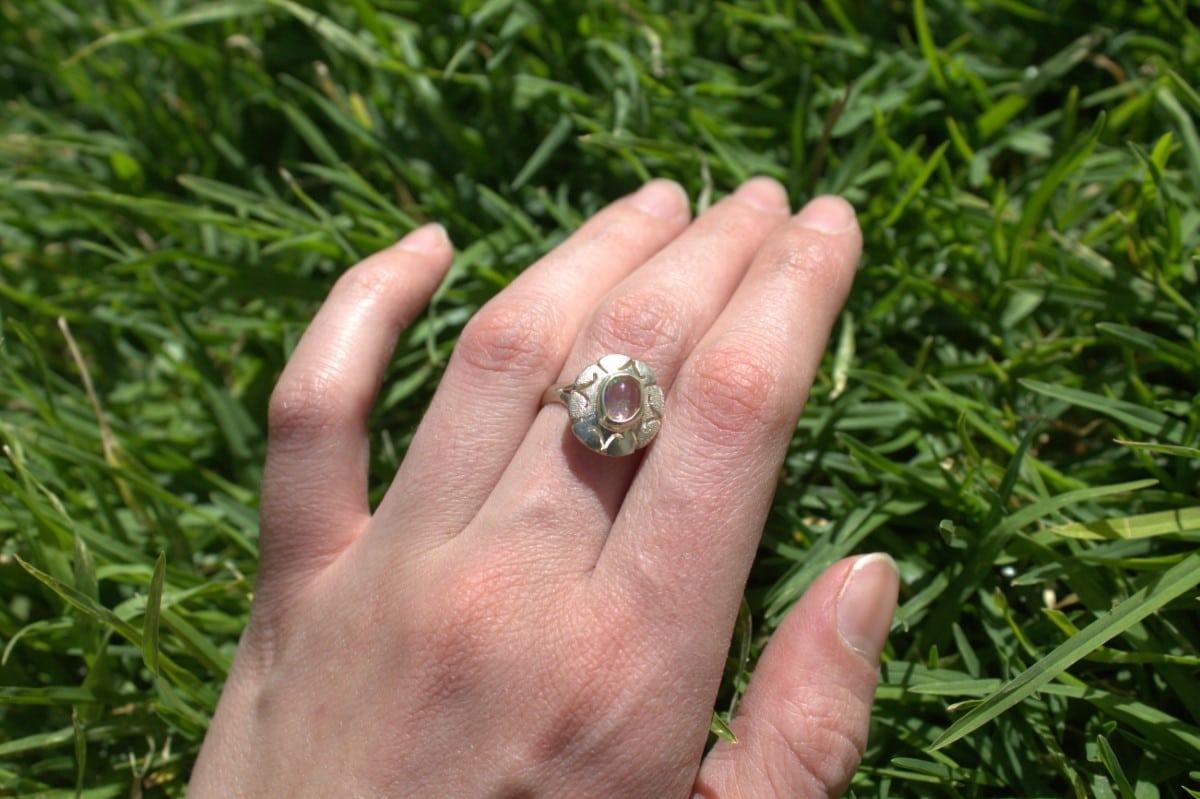 anillo plata opalo transparente flor 3