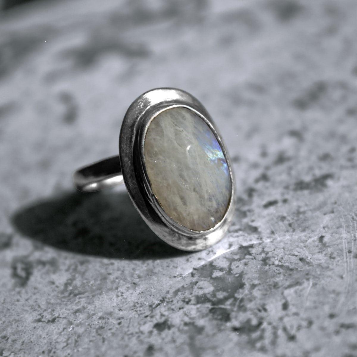 anillo plata piedra luna ovalo 2