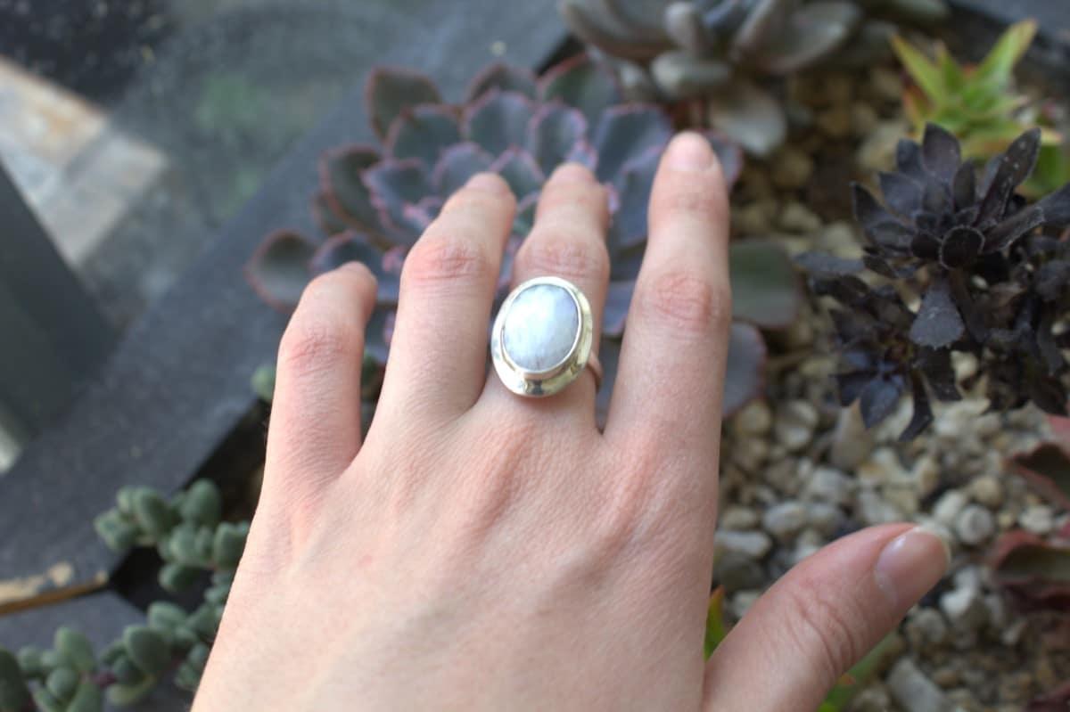 anillo plata piedra luna ovalo 3