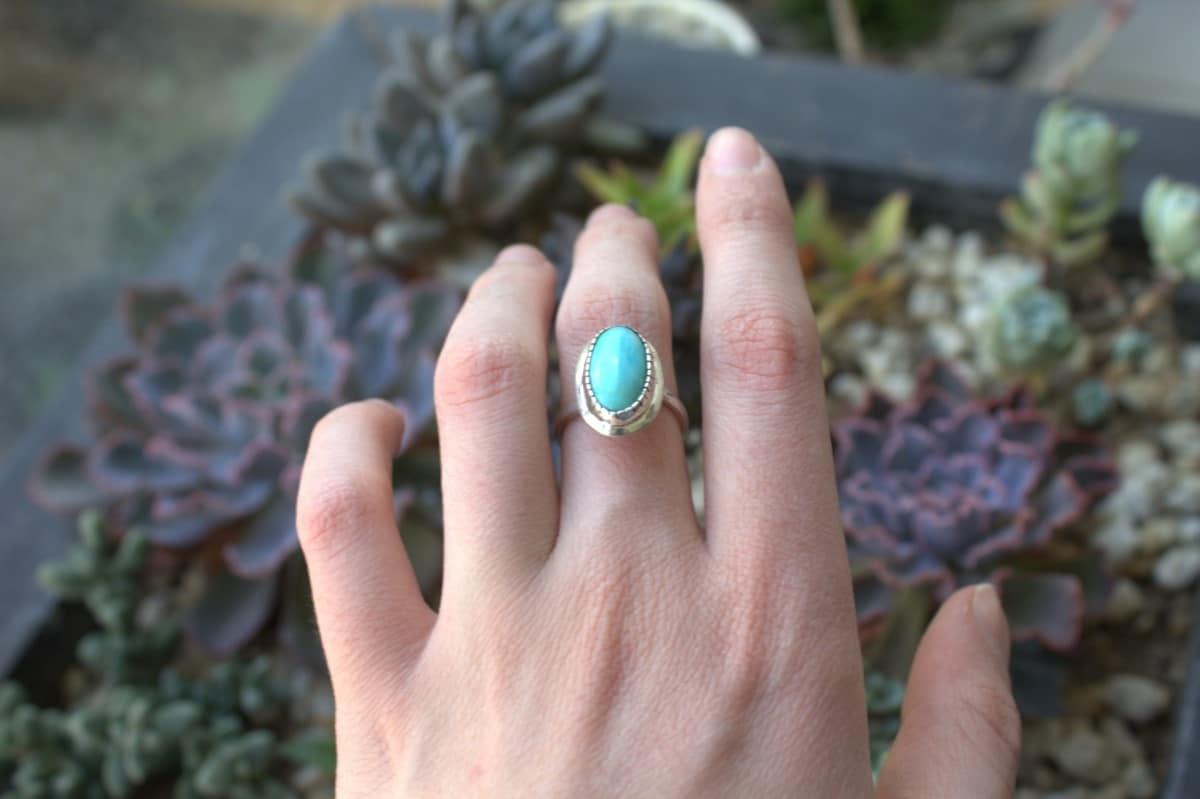 anillo plata turquesa largo 3